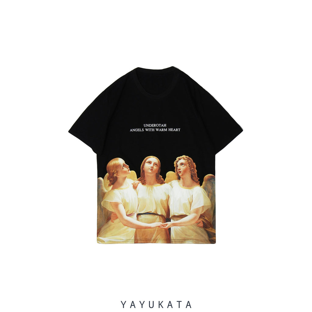"YAYUKATA Tees Black / L MP0 ""ANGELS"" Printed Street Wear Tee"