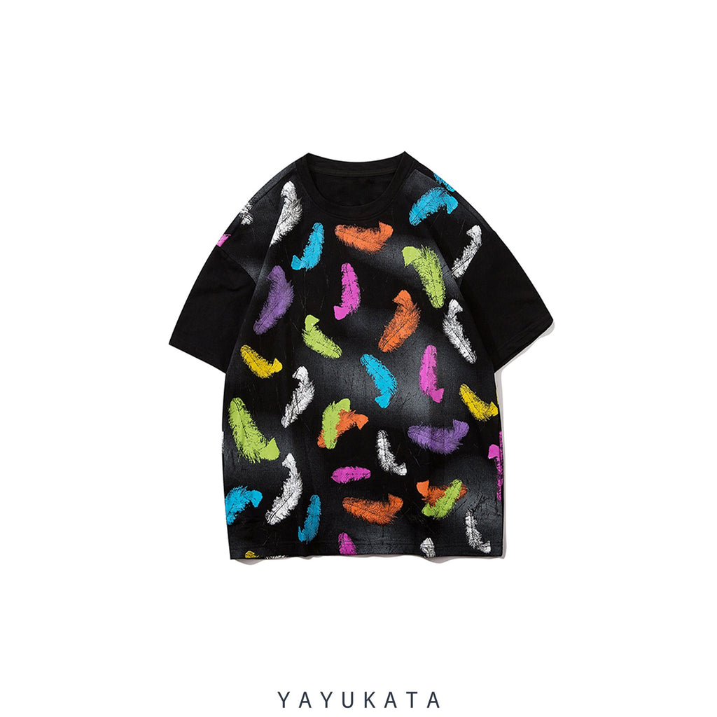 YAYUKATA Tees BLACK / L QO0 Feather Print Summer Tee