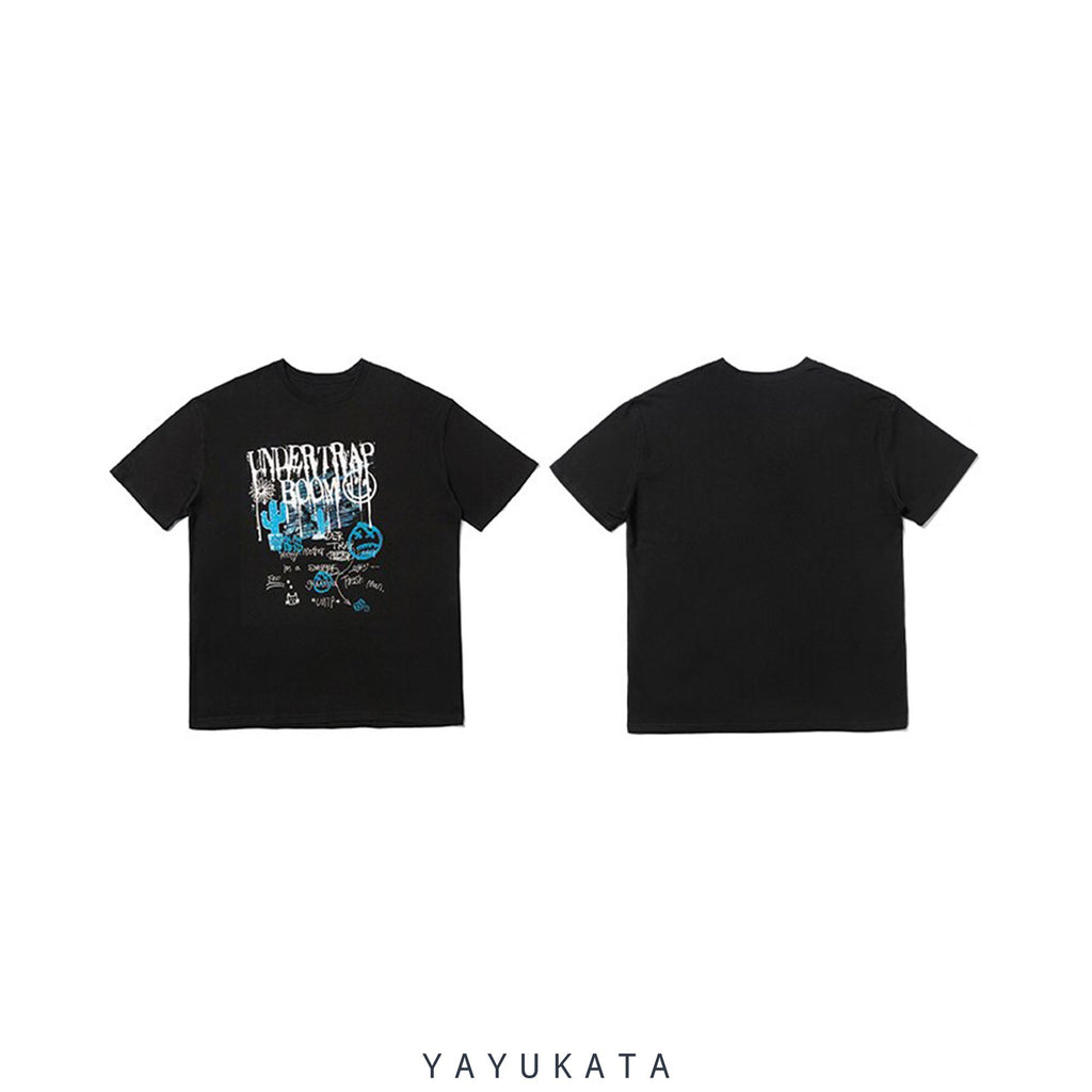 YAYUKATA Tees Black / L YB4 Graffiti Print Cotton Tee