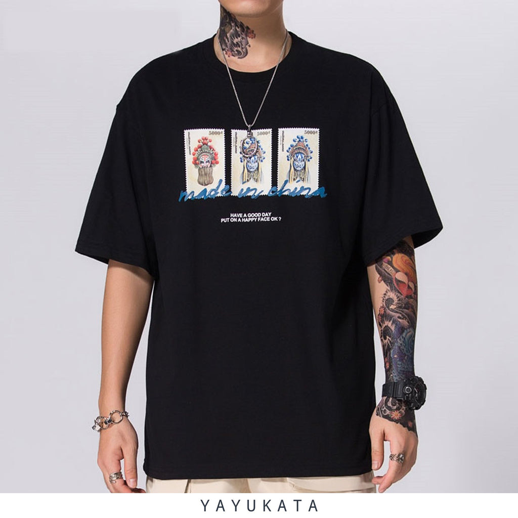 "YAYUKATA Tees BLACK / M YA5 ""Shanghei Stamps"" Printed Cotton Tee"