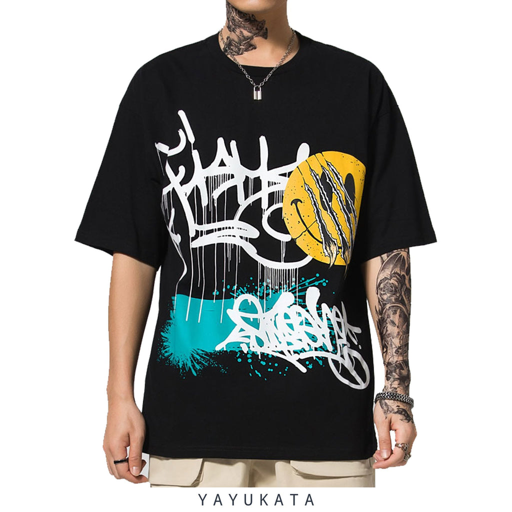 YAYUKATA Tees BLACK / XL ET4 Graffiti Print Cotton Tee