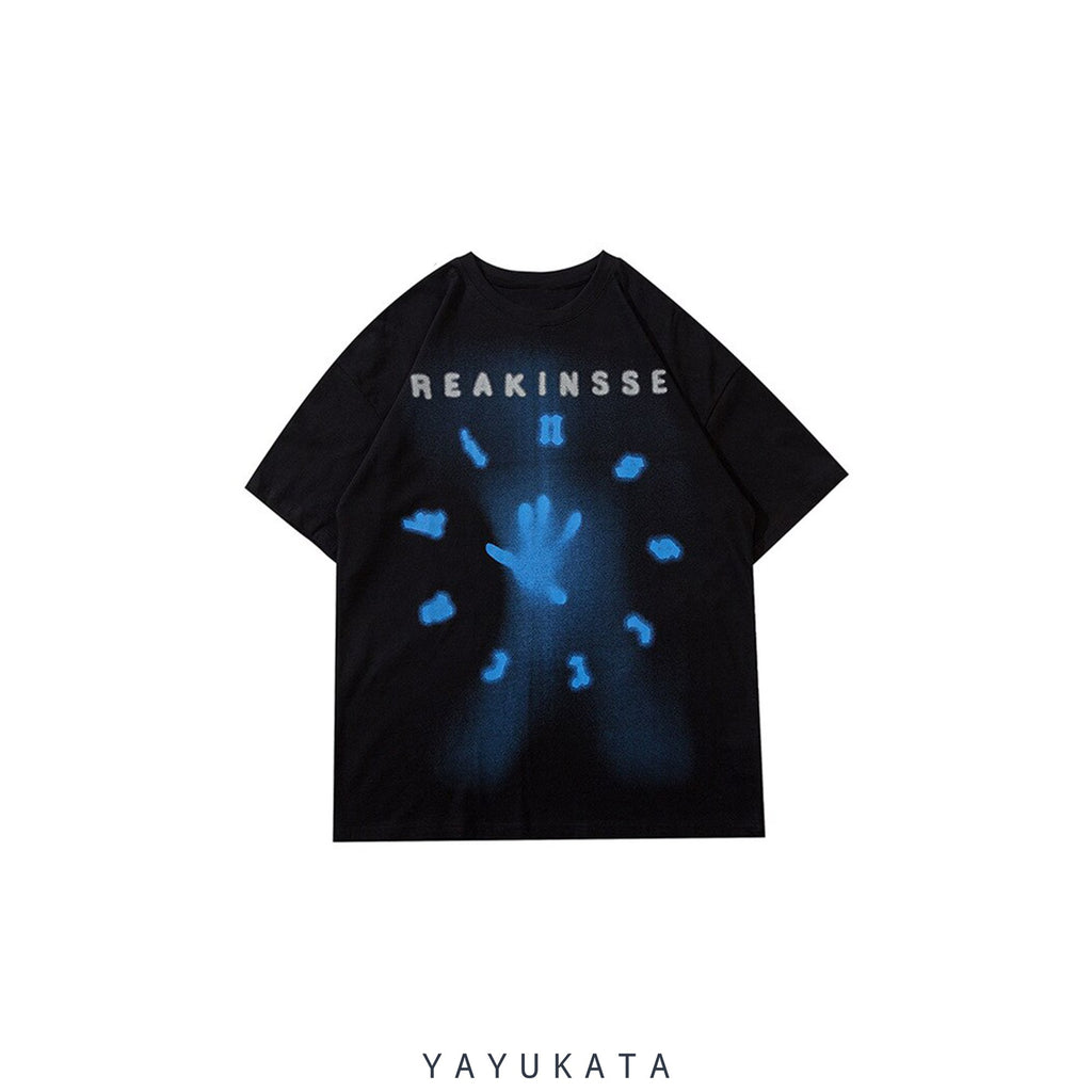 YAYUKATA Tees BLACK / XL ML9 Reakinsse Printed Cotton Tee