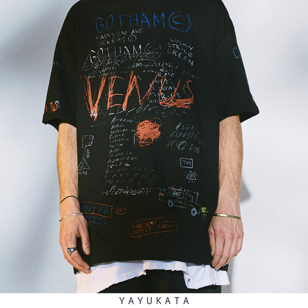 YAYUKATA Tees BLACK / XL TQ3 Graffiti Print Cotton Tee