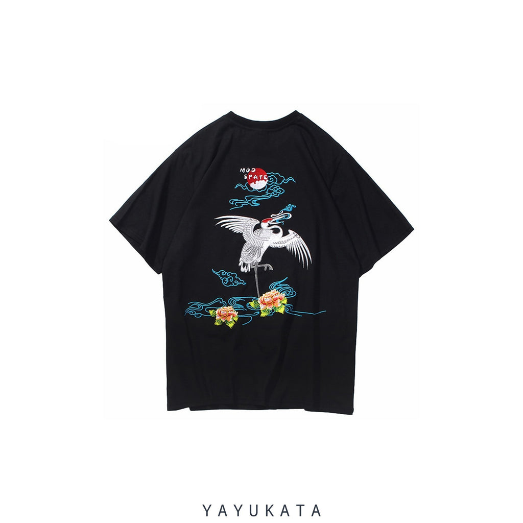 YAYUKATA Tees BLACK / XL XG0 Embroidered Japanese Crane Tee