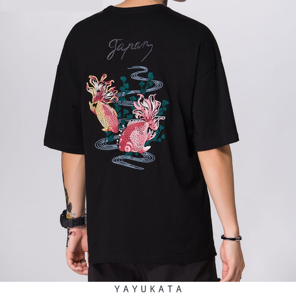 YAYUKATA Tees BLACK / XXL LV4 Embroidered Japanese Koi Tee