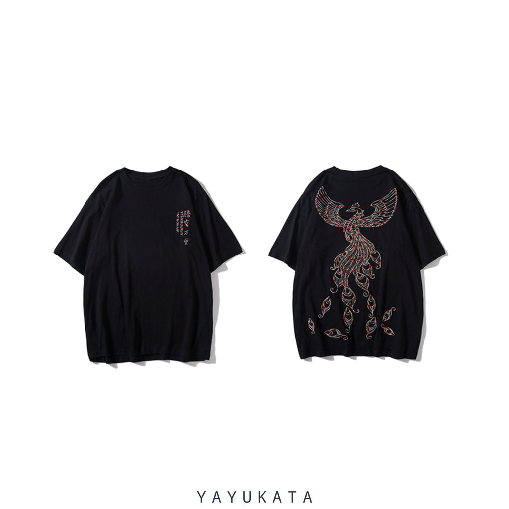 "YAYUKATA Tees Dark Grey / L YAYUKATA KX5 ""PHOENIX"" Embroidered Tee"