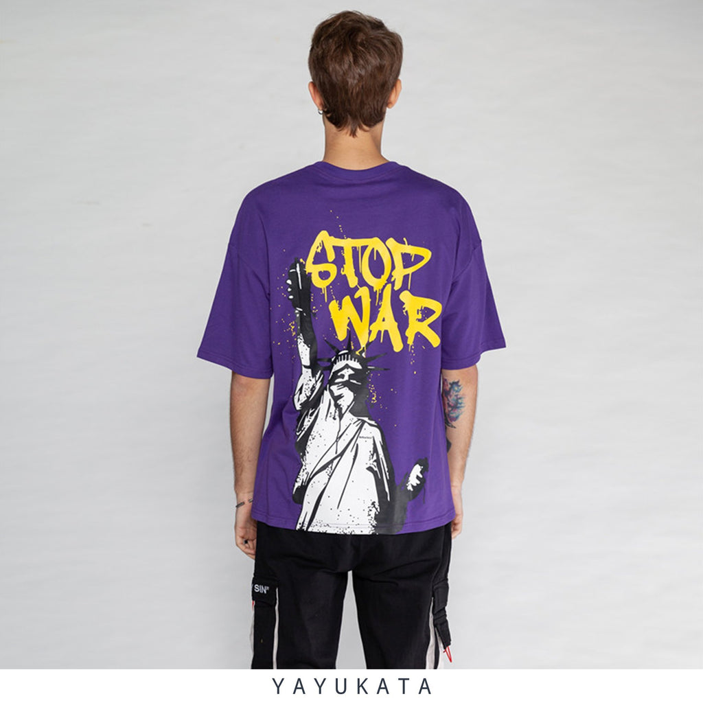 "YAYUKATA Tees Dark Purple / Asian S YAYUKATA DH1 ""STOP WAR"" Tee"