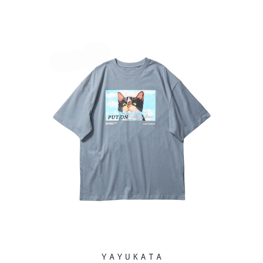 YAYUKATA Tees Gray Blue / S YO7 Printed Retro Tee