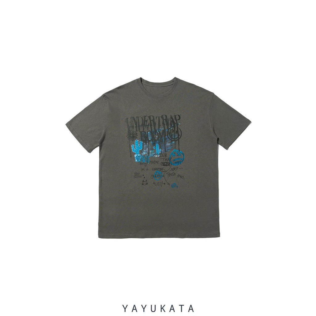 YAYUKATA Tees Gray / L YB4 Graffiti Print Cotton Tee