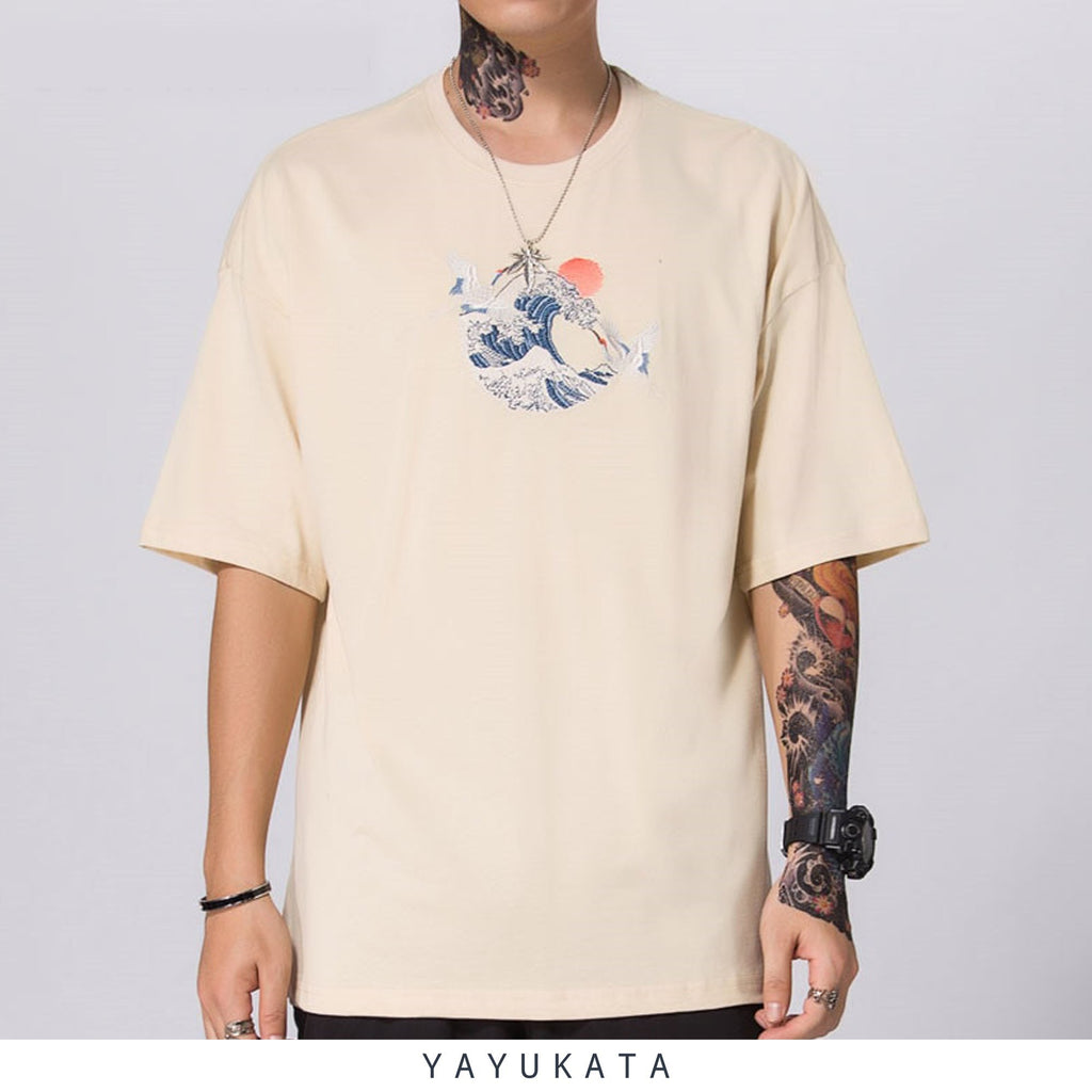 YAYUKATA Tees KHAKI / XXL PQ3 Embroidered Wave Tee