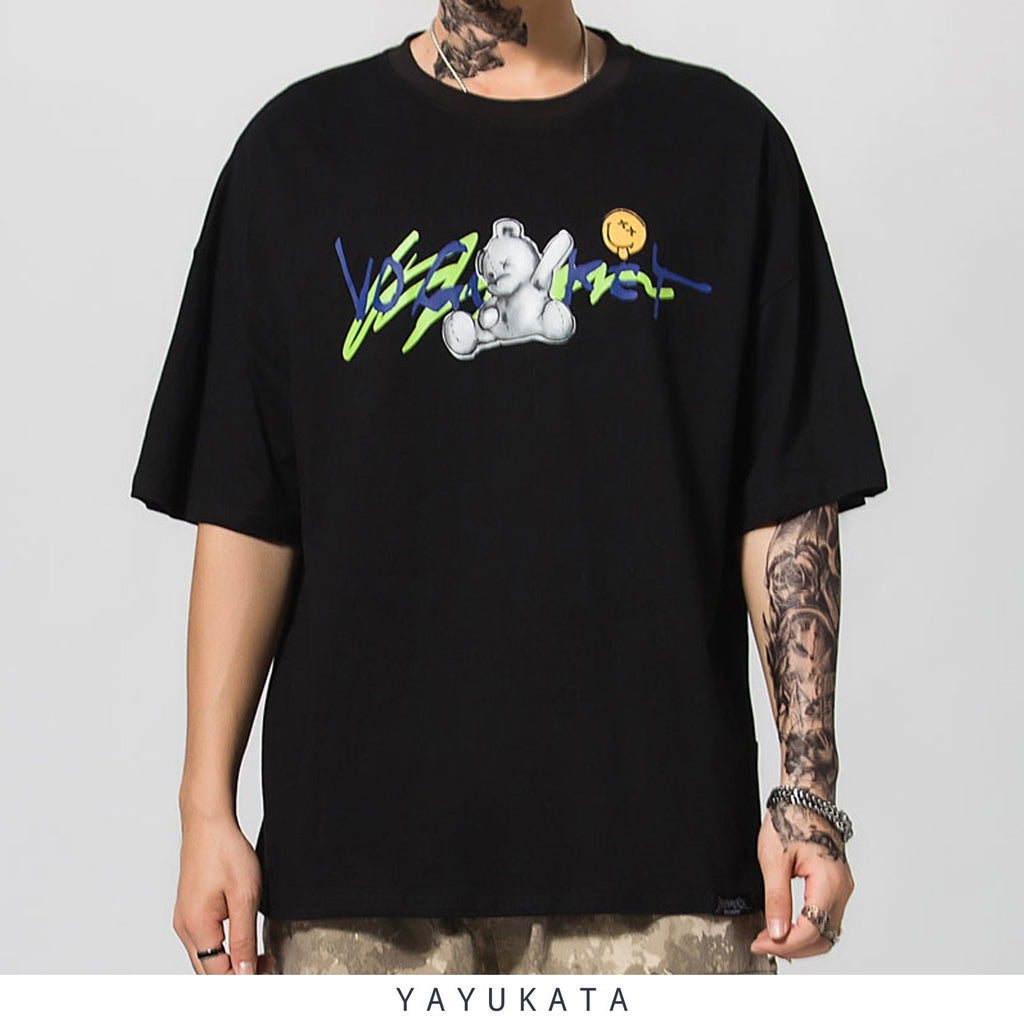 "YAYUKATA Tees LQ6 ""Graffiti Bear"" Casual Tee"