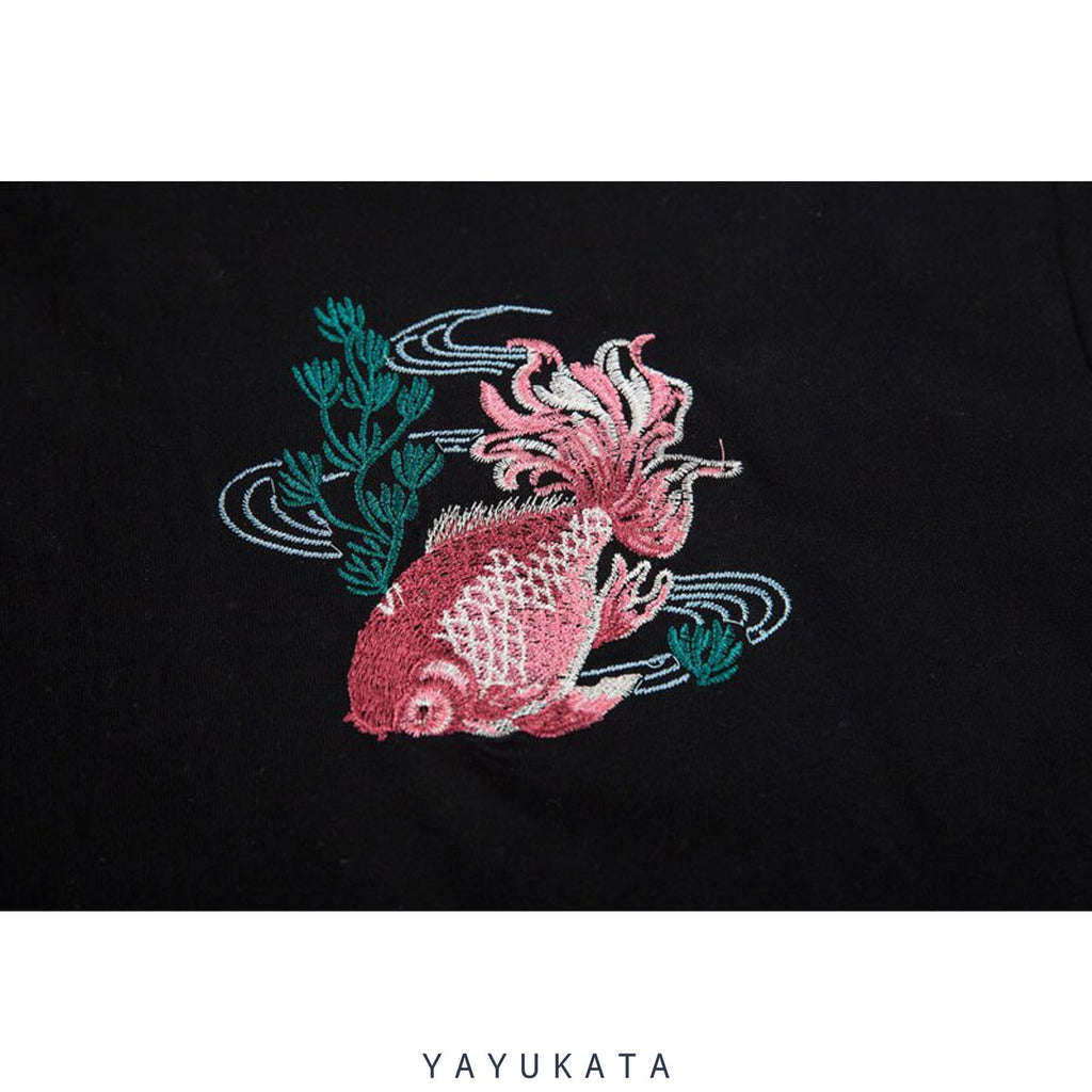 YAYUKATA Tees LV4 Embroidered Japanese Koi Tee