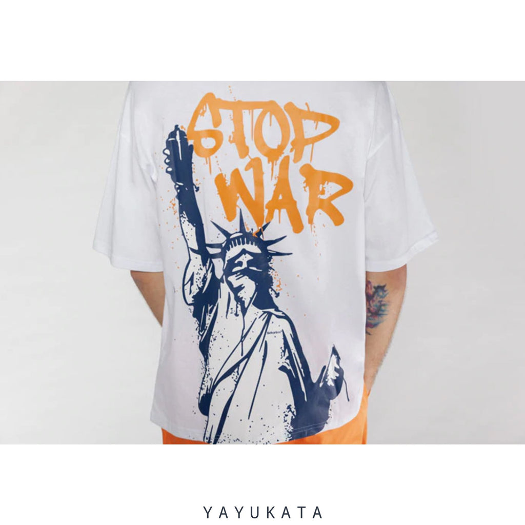 "YAYUKATA Tees Navy Blue / Asian S YAYUKATA DH1 ""STOP WAR"" Tee"