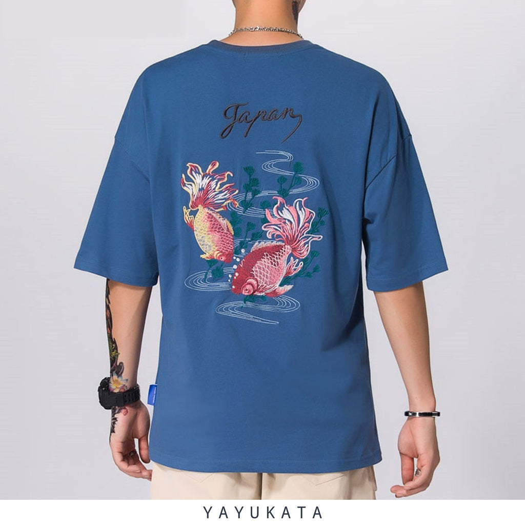 YAYUKATA Tees NAVY BLUE / M LV4 Embroidered Japanese Koi Tee