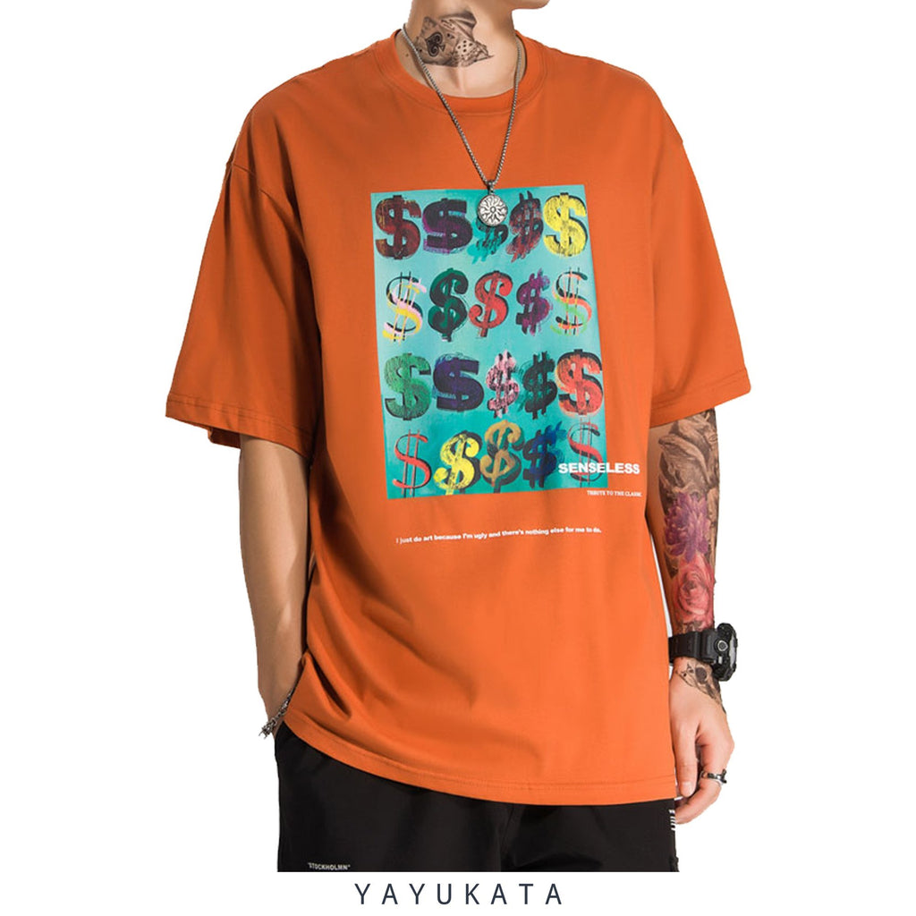 YAYUKATA Tees ORANGE / S EC1 Printed Casual Tee