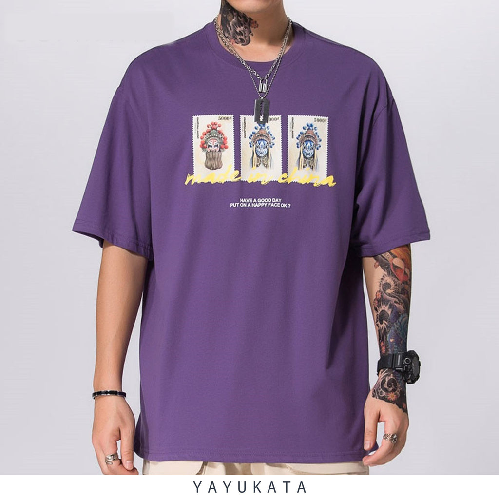 "YAYUKATA Tees PURPLE / M YA5 ""Shanghei Stamps"" Printed Cotton Tee"