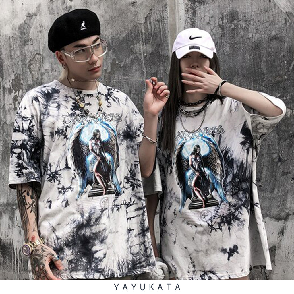 "YAYUKATA Tees QK0 ""DARKNESS"" Printed Cotton Tee"