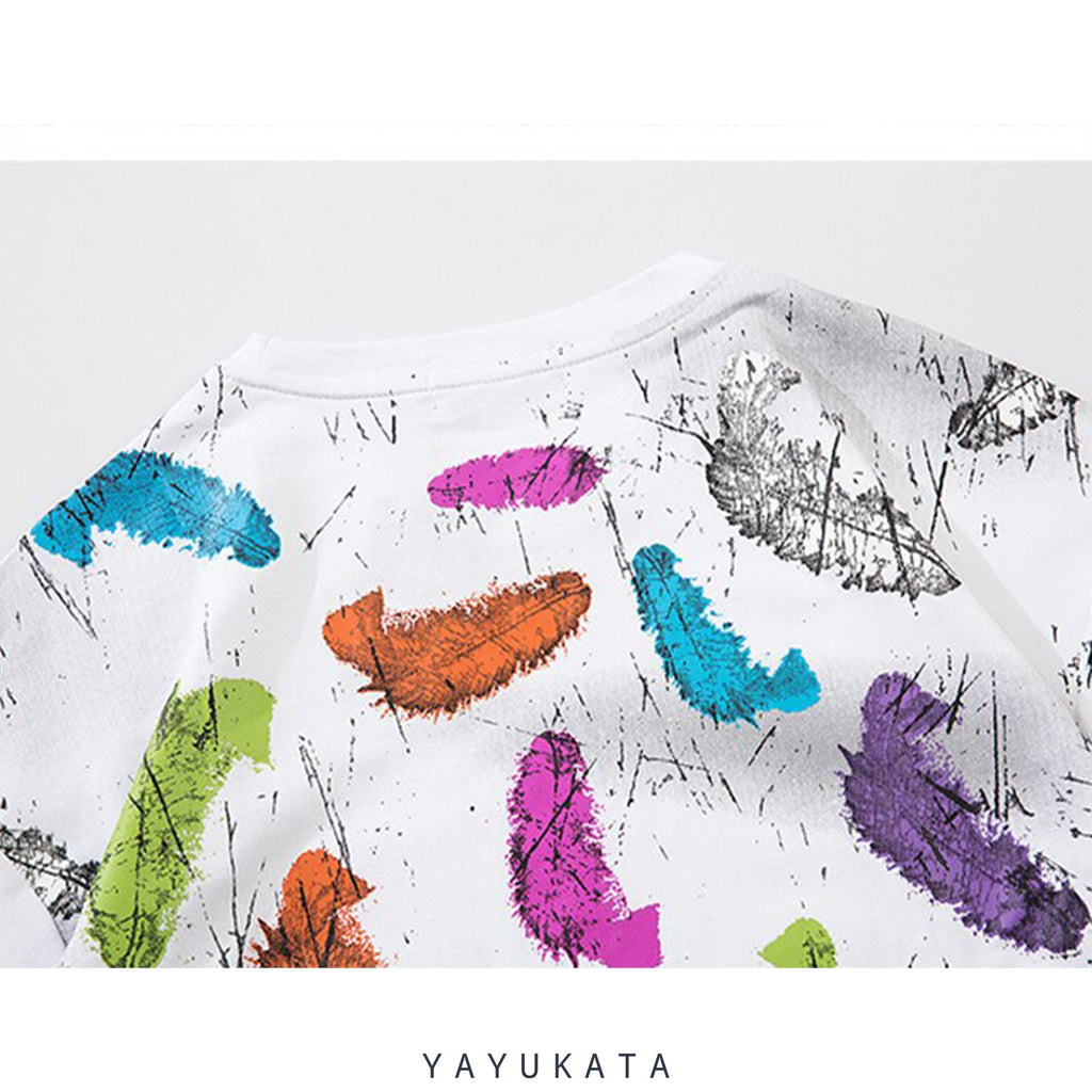 YAYUKATA Tees QO0 Feather Print Summer Tee