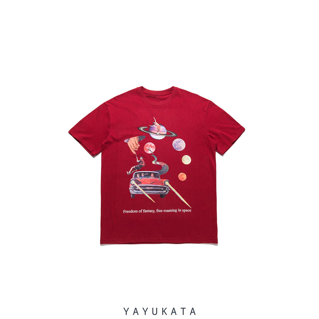 "YAYUKATA Tees RED / Asian M VU2 ""Freedom Of Fantasy"" Retro Tee"