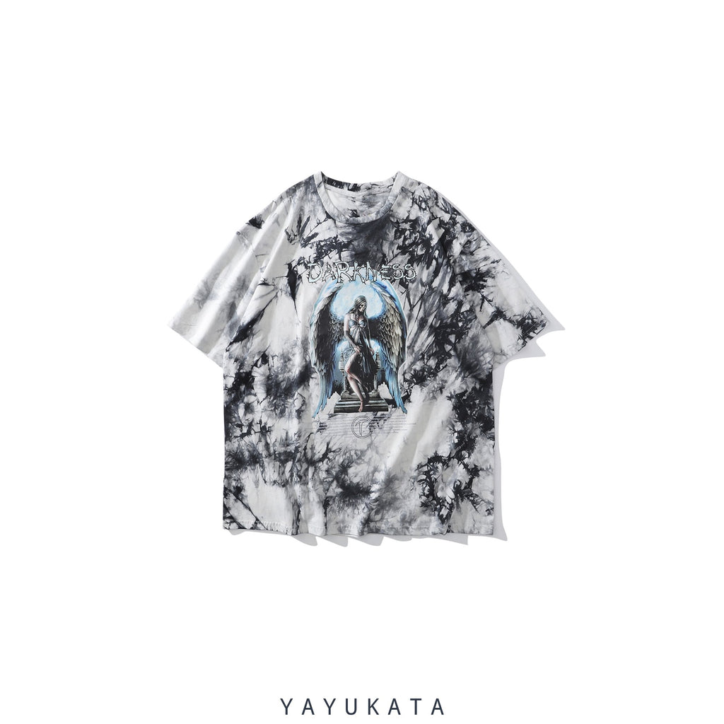 "YAYUKATA Tees S QK0 ""DARKNESS"" Printed Cotton Tee"