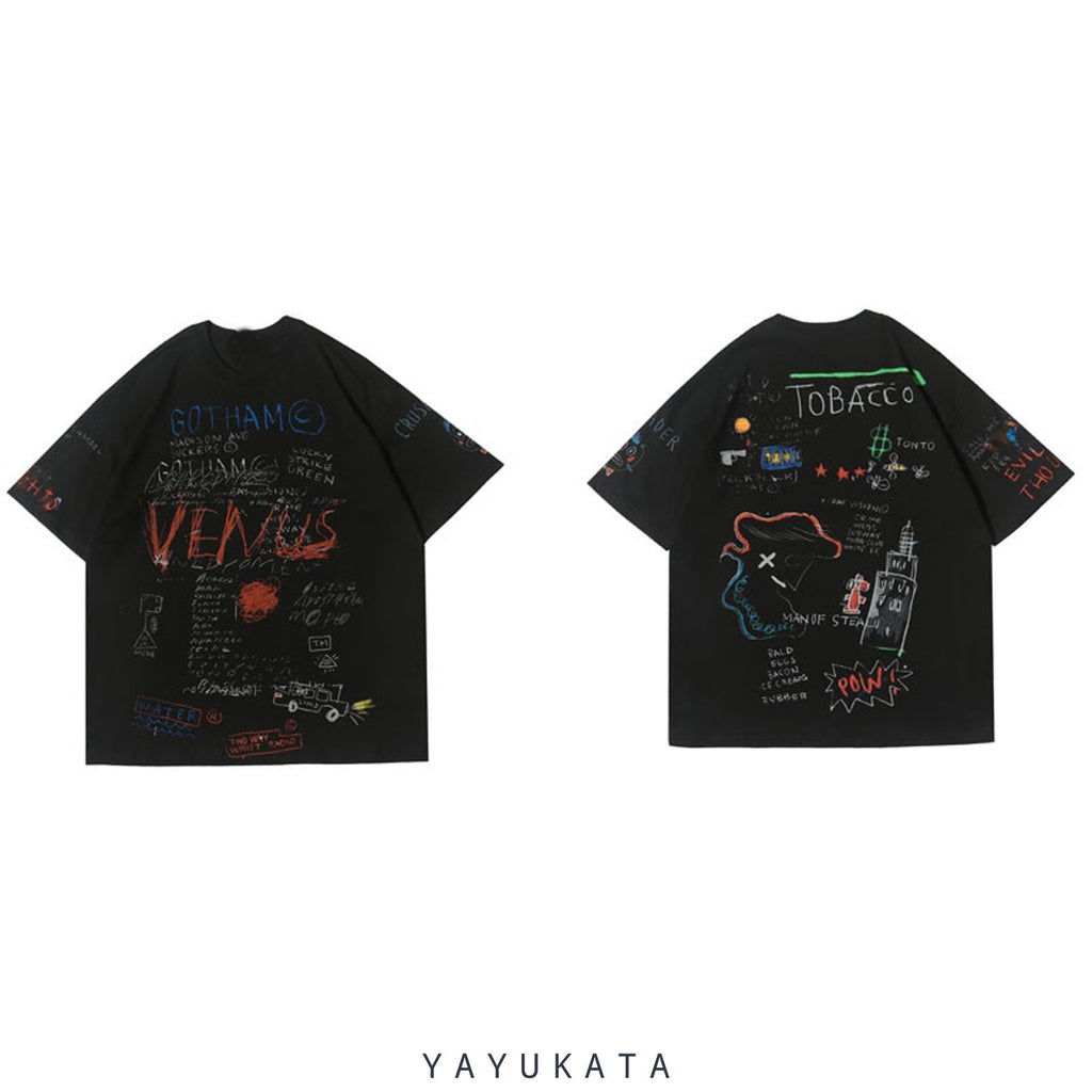 YAYUKATA Tees TQ3 Graffiti Print Cotton Tee