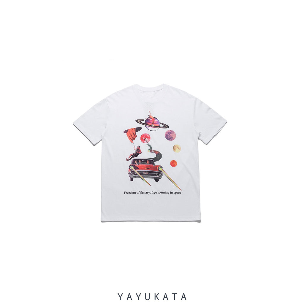 "YAYUKATA Tees WHITE / Asian M VU2 ""Freedom Of Fantasy"" Retro Tee"