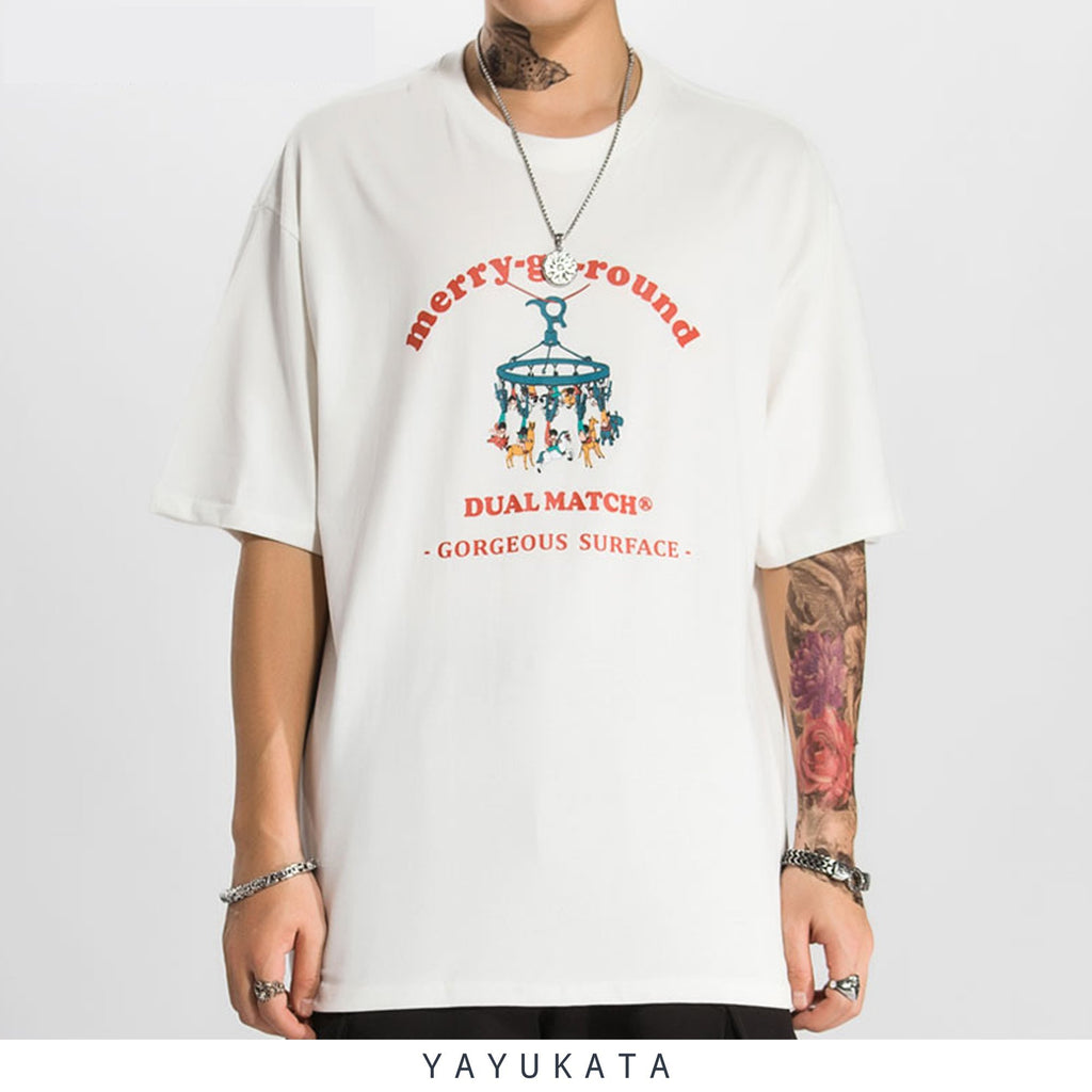 YAYUKATA Tees WHITE / L RE1 Printed Cotton Tee