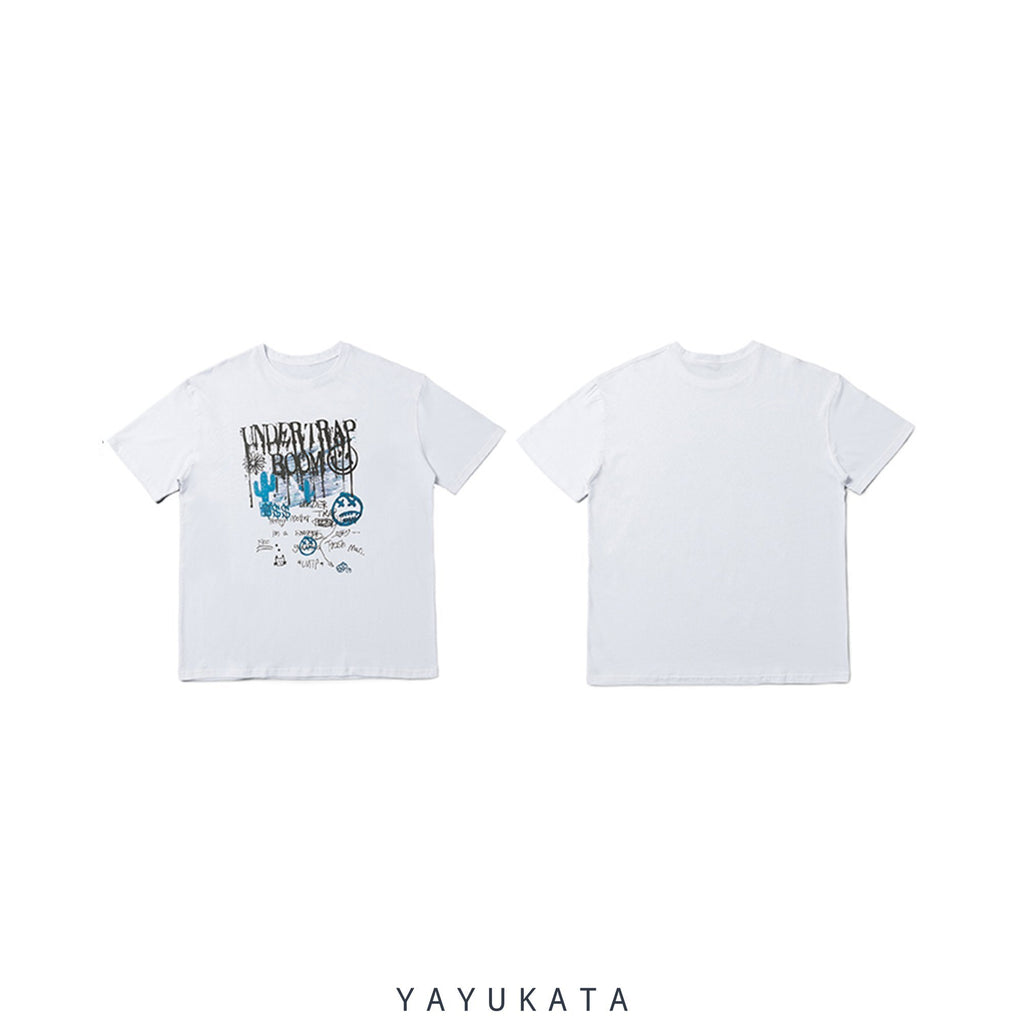 YAYUKATA Tees White / L YB4 Graffiti Print Cotton Tee