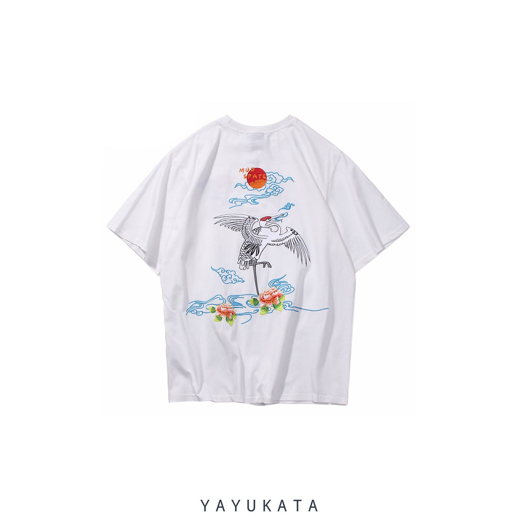 YAYUKATA Tees WHITE / M XG0 Embroidered Japanese Crane Tee