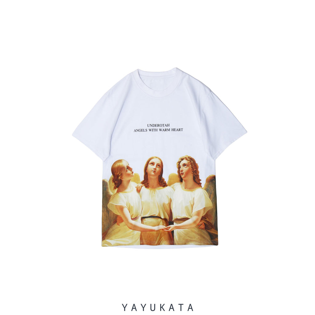 "YAYUKATA Tees White / S MP0 ""ANGELS"" Printed Street Wear Tee"