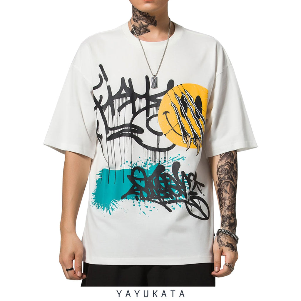 YAYUKATA Tees WHITE / XL ET4 Graffiti Print Cotton Tee