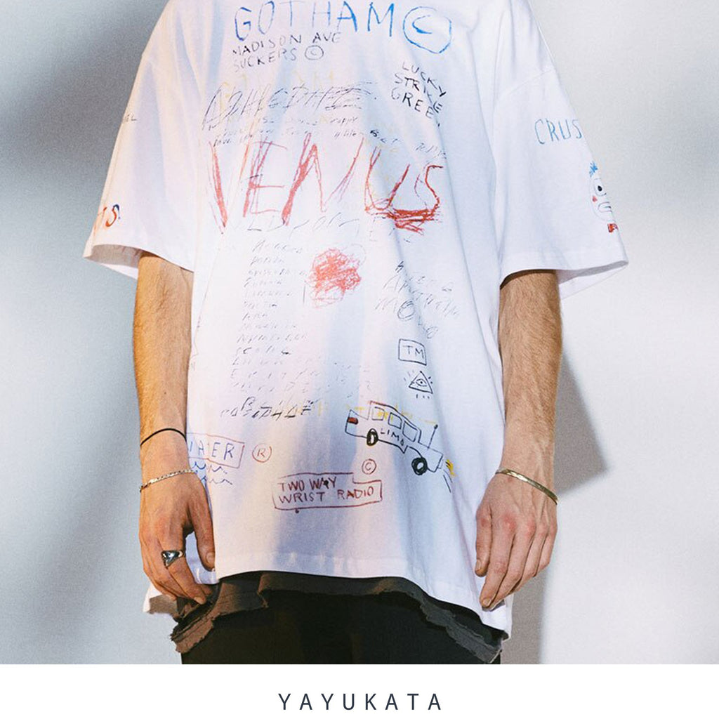 YAYUKATA Tees WHITE / XL TQ3 Graffiti Print Cotton Tee