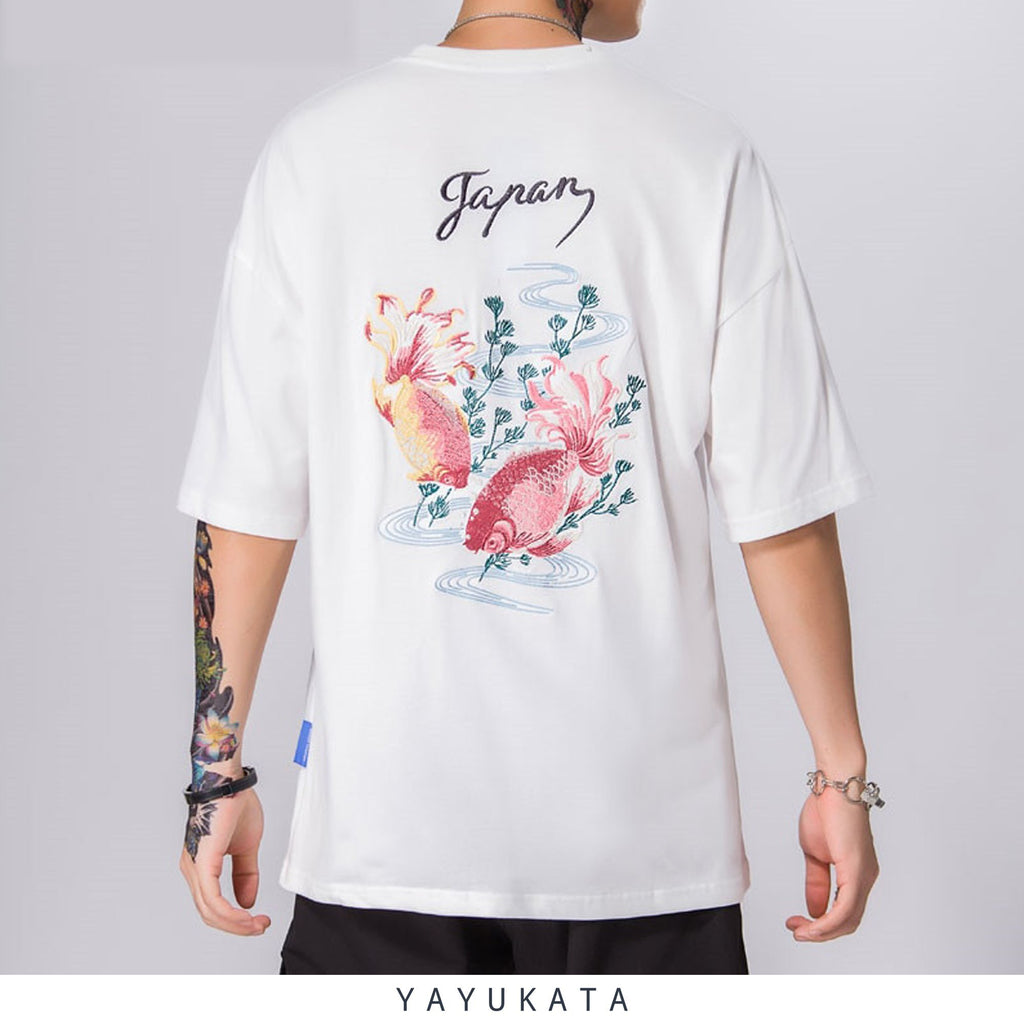 YAYUKATA Tees WHITE / XXL LV4 Embroidered Japanese Koi Tee