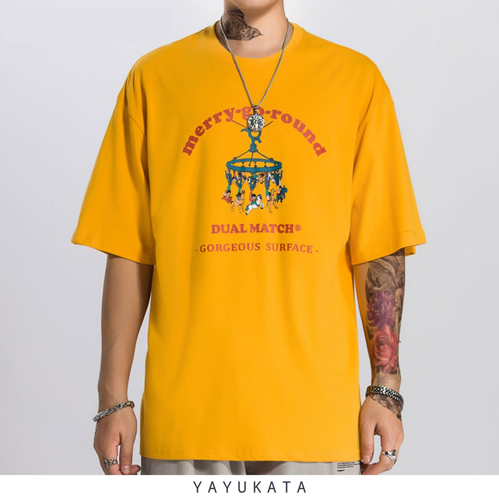 YAYUKATA Tees YELLOW / L RE1 Printed Cotton Tee