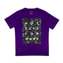 Load image into Gallery viewer, NSFW purple tee with logo printed on grey camouflage background from 9GAG Shop