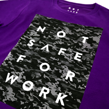 Load image into Gallery viewer, Not safe for work camouflage pattern on purple tee
