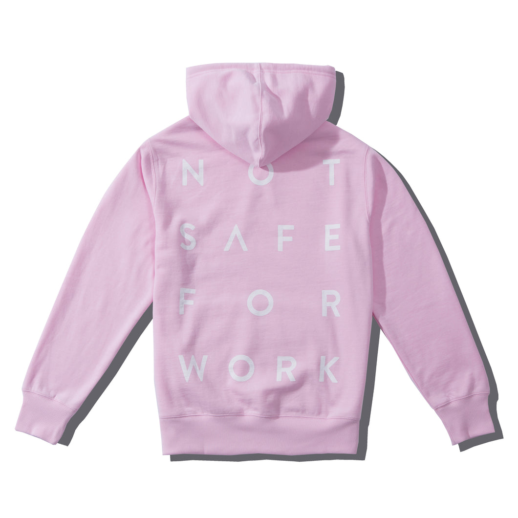 NSFW Clothing's pink hoodiewith stacked word print on the back