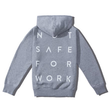Load image into Gallery viewer, NSFW grey hoodie from 9GAG shop with stacked word print on the back