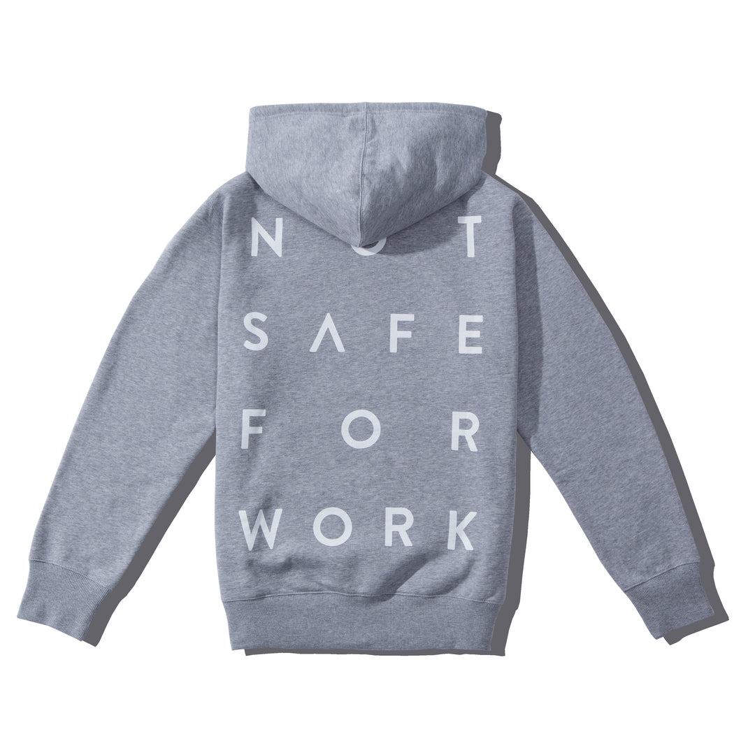 NSFW grey hoodie from 9GAG shop with stacked word print on the back