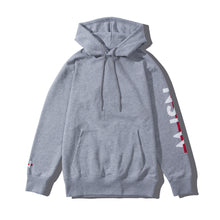 Load image into Gallery viewer, NSFW Clothing's grey hoodie with logo prints on both sleeves