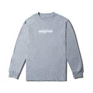 NSFW Clothing logo on front of grey long sleeve tee
