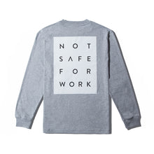 Load image into Gallery viewer, NSFW Clothing grey long sleeve tee with Not Safe For Work word print on the back