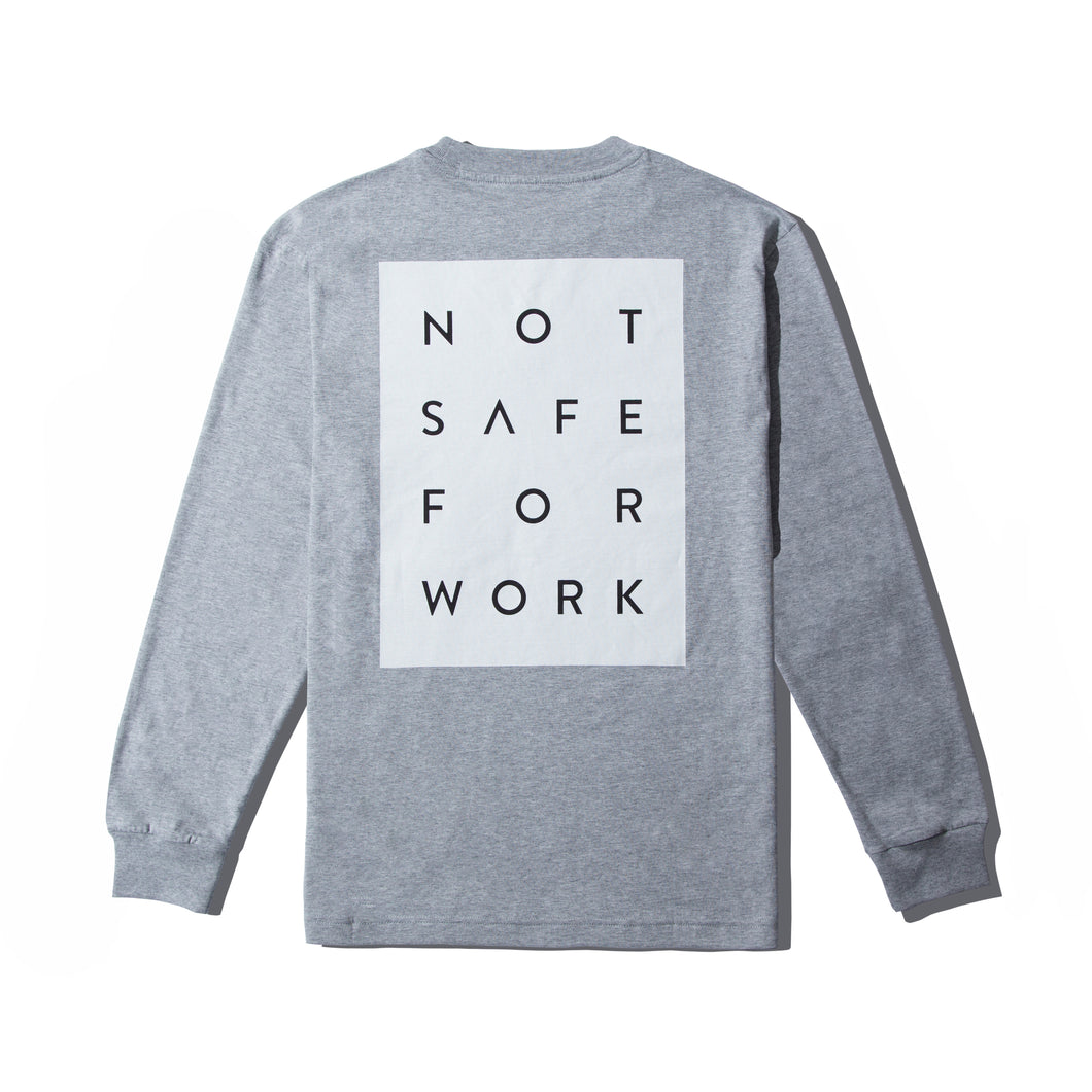 NSFW Clothing grey long sleeve tee with Not Safe For Work word print on the back