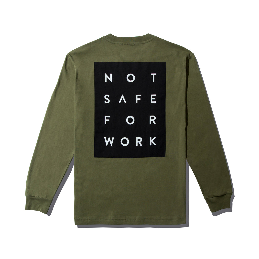NSFW Long Sleeve Tee - Blocked Olive