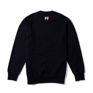 NSFW Clothing logo on the back of black sweater