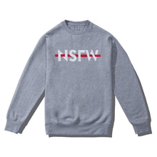 Load image into Gallery viewer, NSFW Clothing crewneck sweater in grey with logo print on the front.