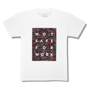 NSFW white tee with logo printed on red camouflage background from 9GAG Shop