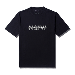 NSFW Clothing's black tee with logo print in grey camouflage type