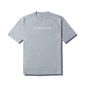 9GAG grey tee with Not safe for work word print in white.