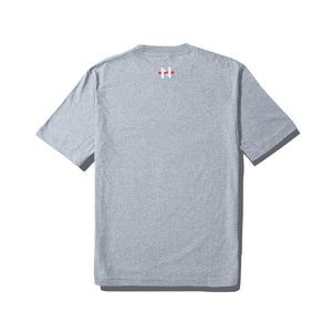 NSFW Clothing logo on the black of grey tee